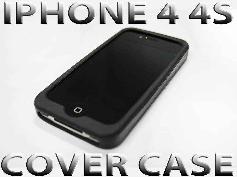 IPHONE-4S-4-SILIKON-CASE-SCHUTZHULLE-BUMPER-SILICON-HULLE-COVER-TASCHE-SCHWARZ